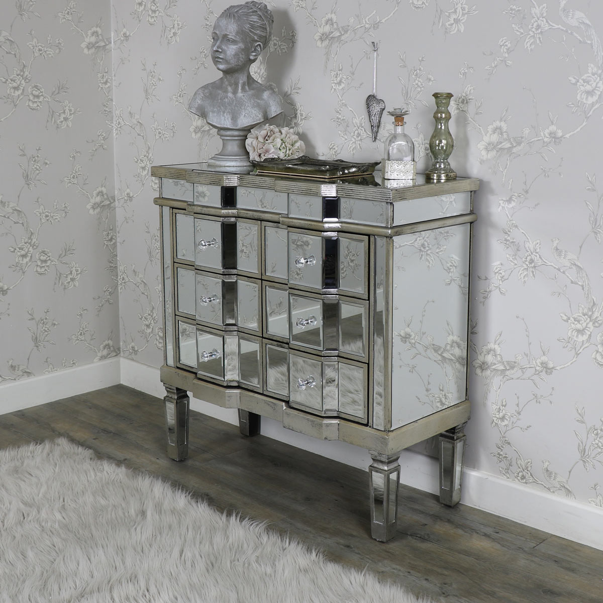 Six Drawer Wooden Mirrored Chest Of Drawers Shabby French Chic Bedroom Furniture Ebay