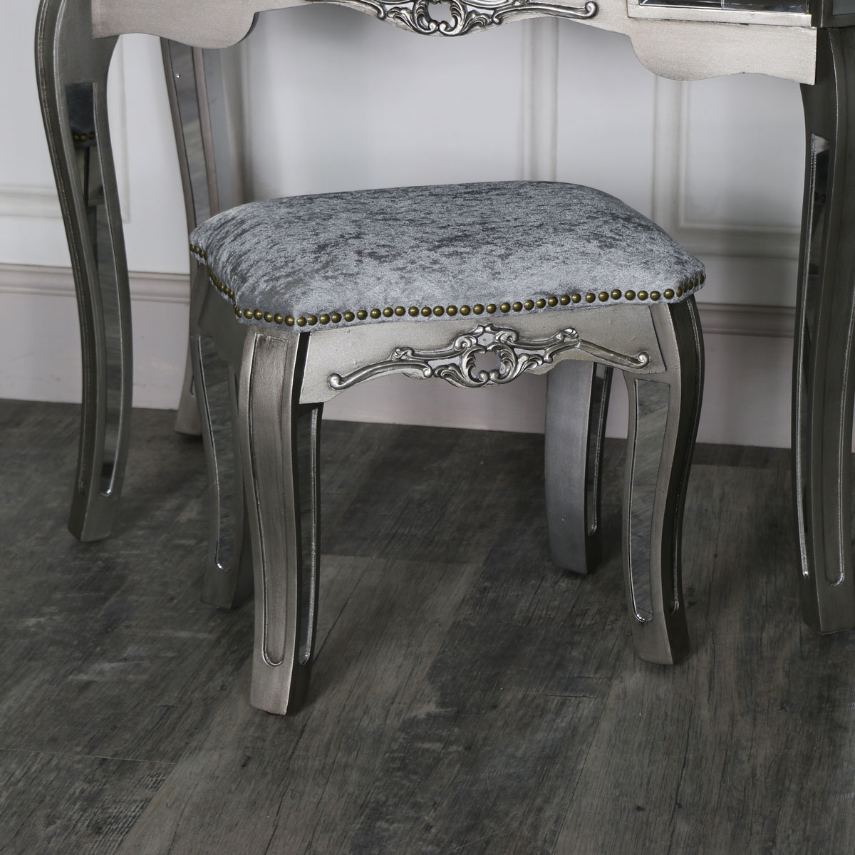 Mirrored Dressing Table Stool - Tiffany Range