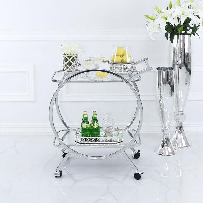Mirrored Silver Bar Cart Drinks Trolley