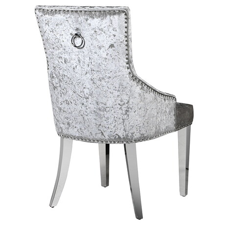 Mirrored Silver Crushed Velvet Dining Chair