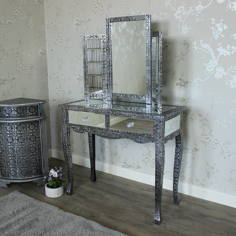 Monique range silver mirrored dressing table and triple for Vanity dressing table
