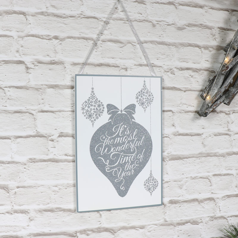 'Most Wonderful Time' Glitter White Wall Plaque