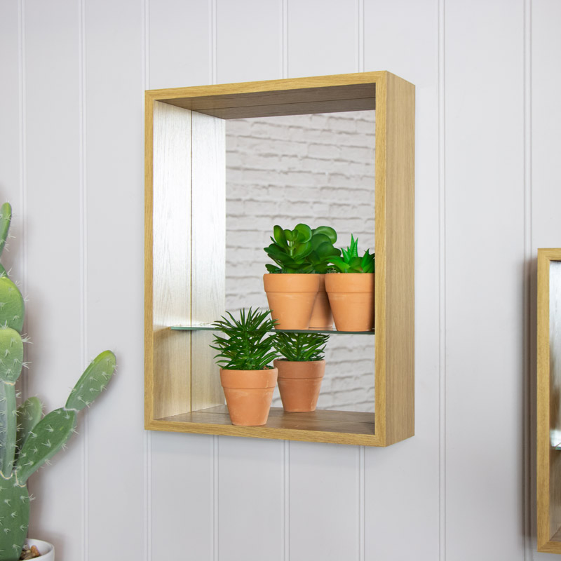 Natural Wooden Mirrored Display Backed Shelf