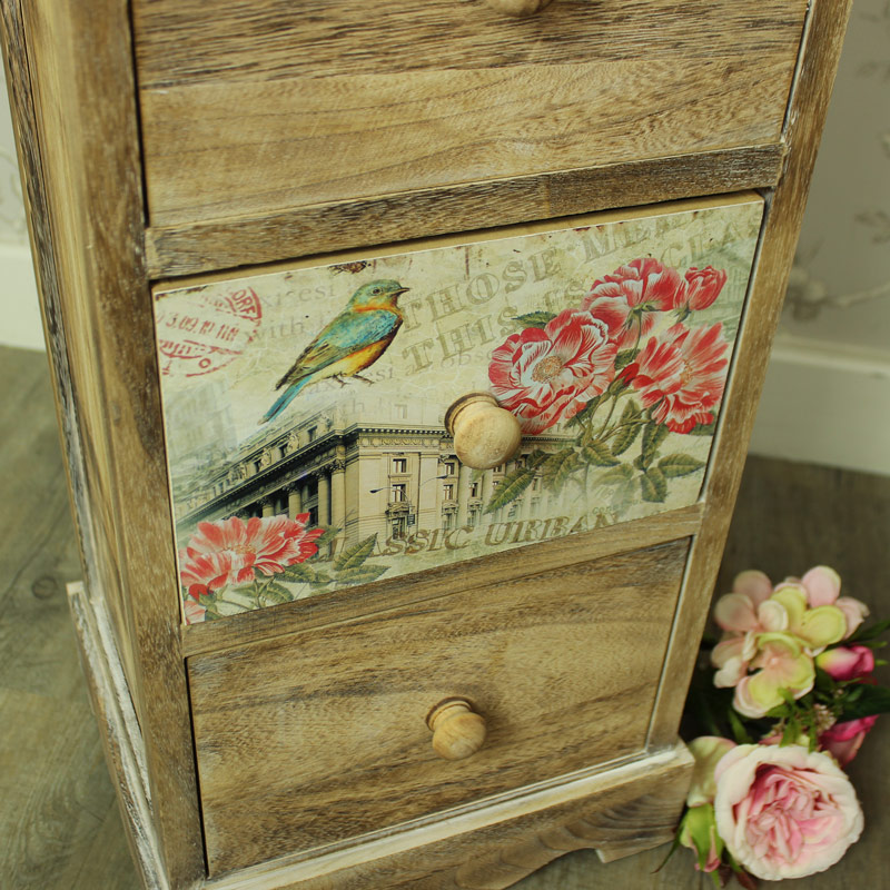 Natural Wooden Floral 4 Drawer Tallboy Chest of Drawers - Belle Range