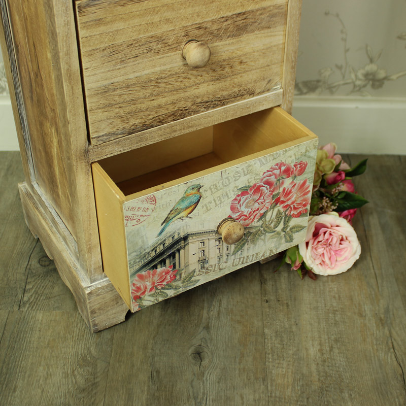 Floral 5 Drawer Tallboy Chest of Drawers - Belle Range