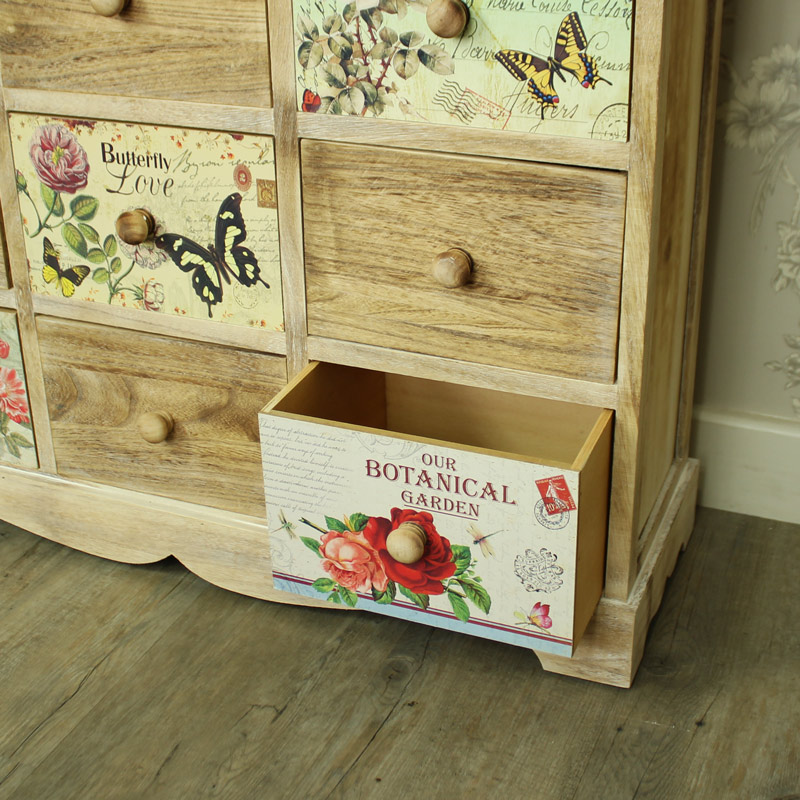 Natural Wooden Floral 9 Drawer Chest of Drawers - Belle Range