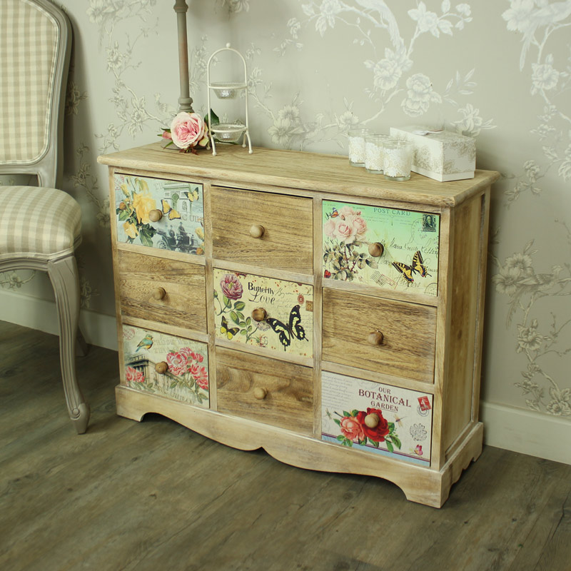 Natural Wooden Floral 9 Drawer Chest of Drawers Belle Range