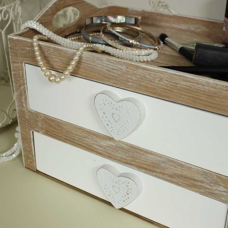 Natural wooden heart makeup trinket craft storage box for Wooden hearts for crafts