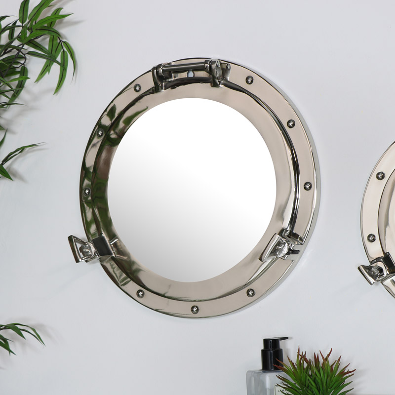 Nautical Porthole Mirror in Silver - 38cm x 38cm