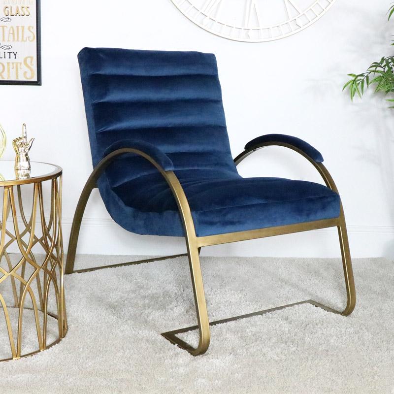 Navy Blue Gold Ribbed Velvet Chair