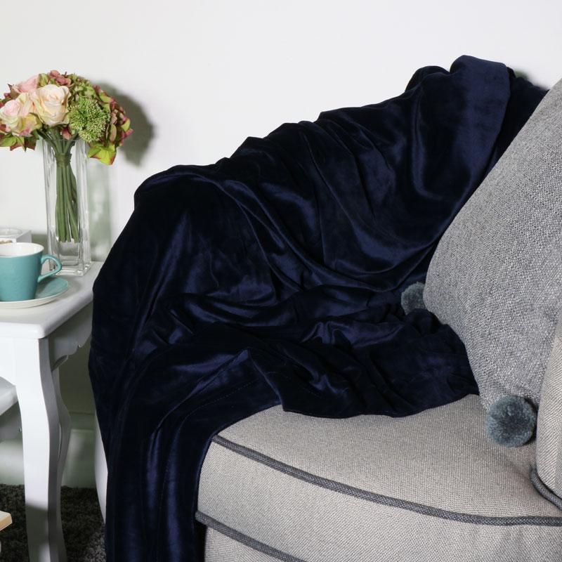 Navy Blue Velvet Throw 180cm x 130cm