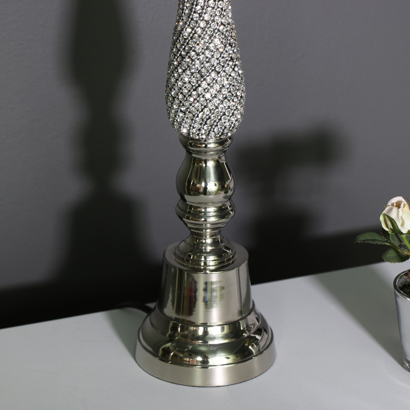 Nickel Diamante Table Lamp with Silver Glitter Shade