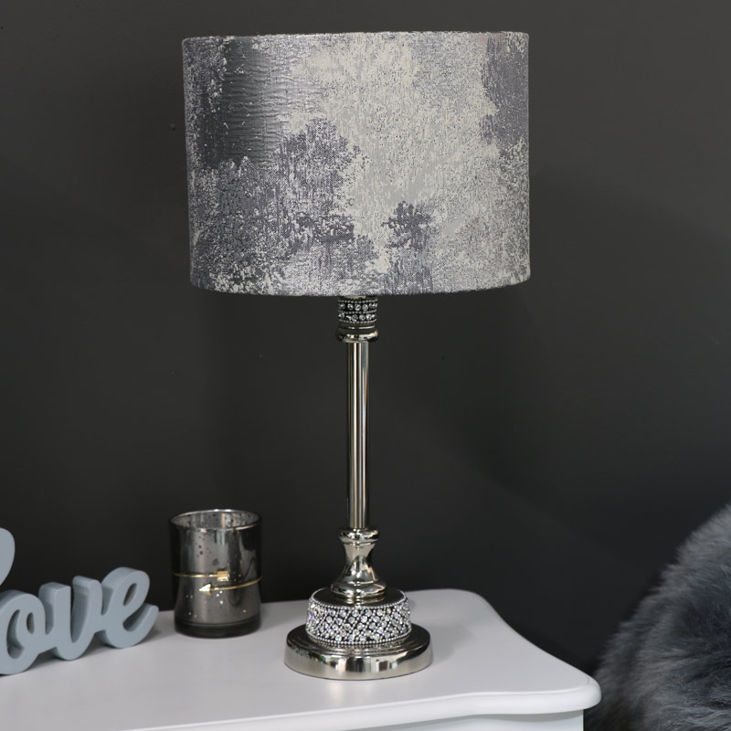 Nickel Diamante Table Lamp with Silver Marble Shade