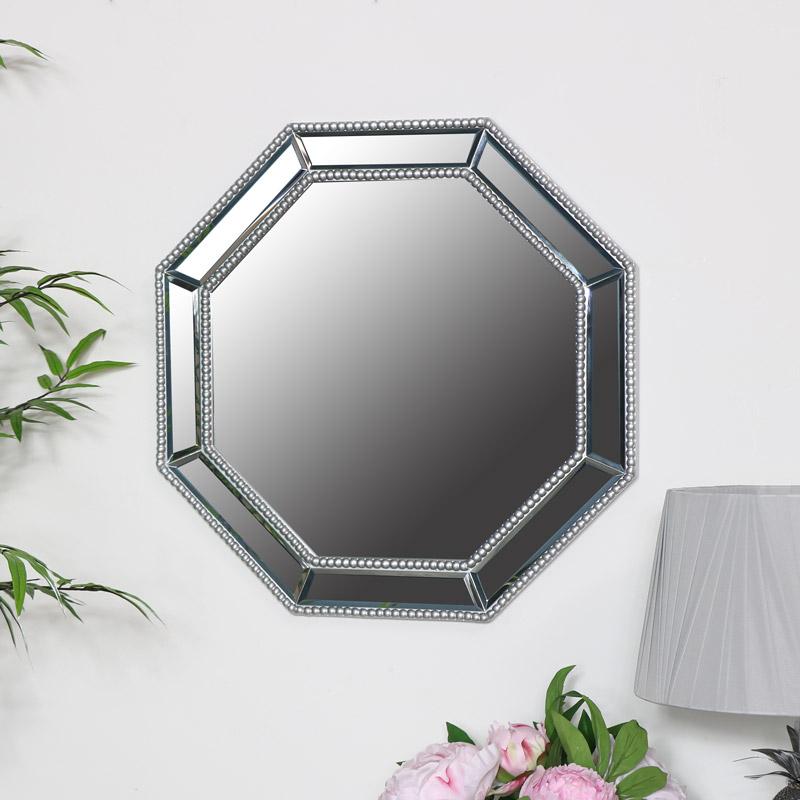 Octagonal Silver Beaded Wall Mirror 50cm x 50cm