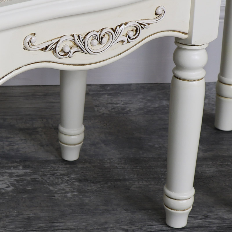 Ornate Antique Cream Cushioned Dressing Table Stool - Adelise Range