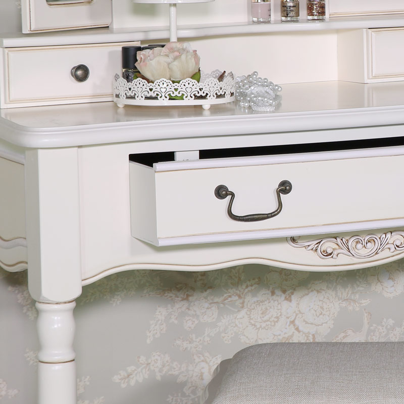 Cream Dressing Table, Mirror and Stool Set - Adelise Range