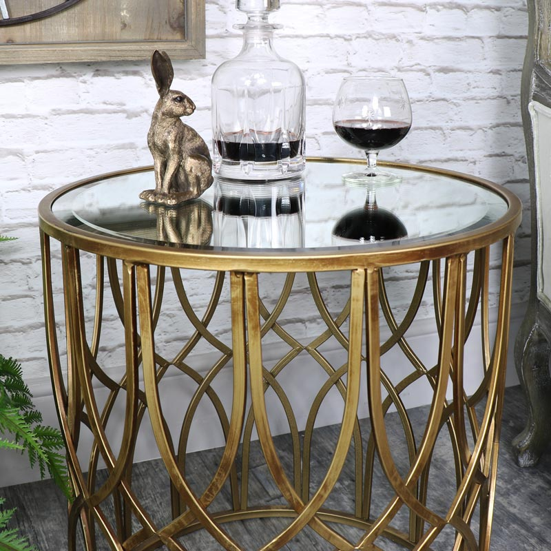 Ornate Antique Gold Mirrored Side Table Melody Maison 174