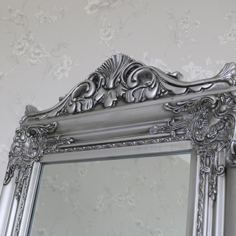 Silver Full Length Vintage Freestanding Cheval Mirror