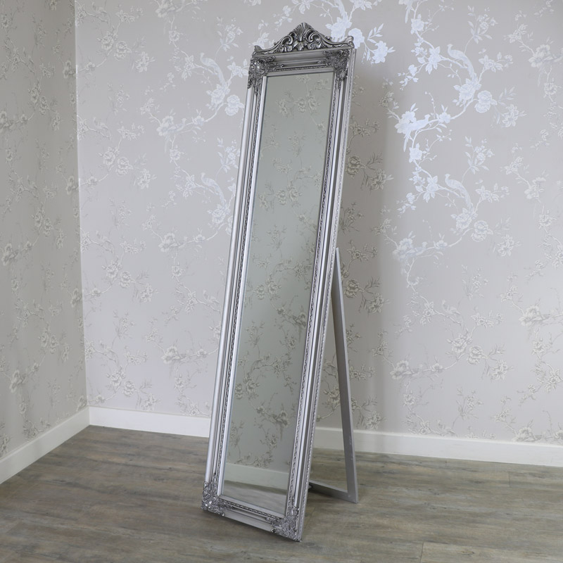 Ornate Antique Silver Full Length Vintage Freestanding Cheval Mirror