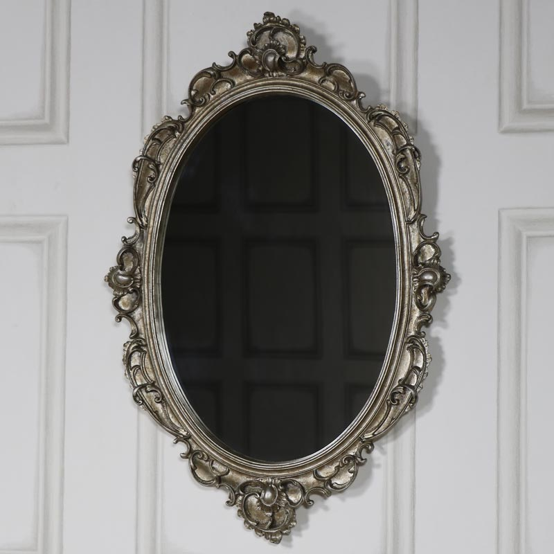 Ornate antique silver wall mirror melody maison for Small silver mirror