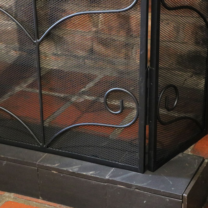 Ornate Black Fire Screen