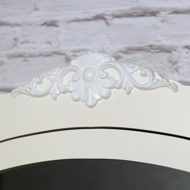 Ornate Cream Wooden Wall Unit with Mirrored Front