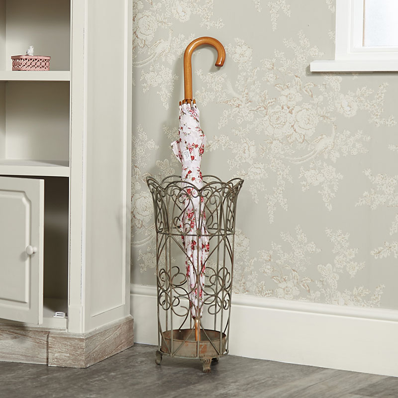 Ornate French Grey Distressed Umbrella Stand