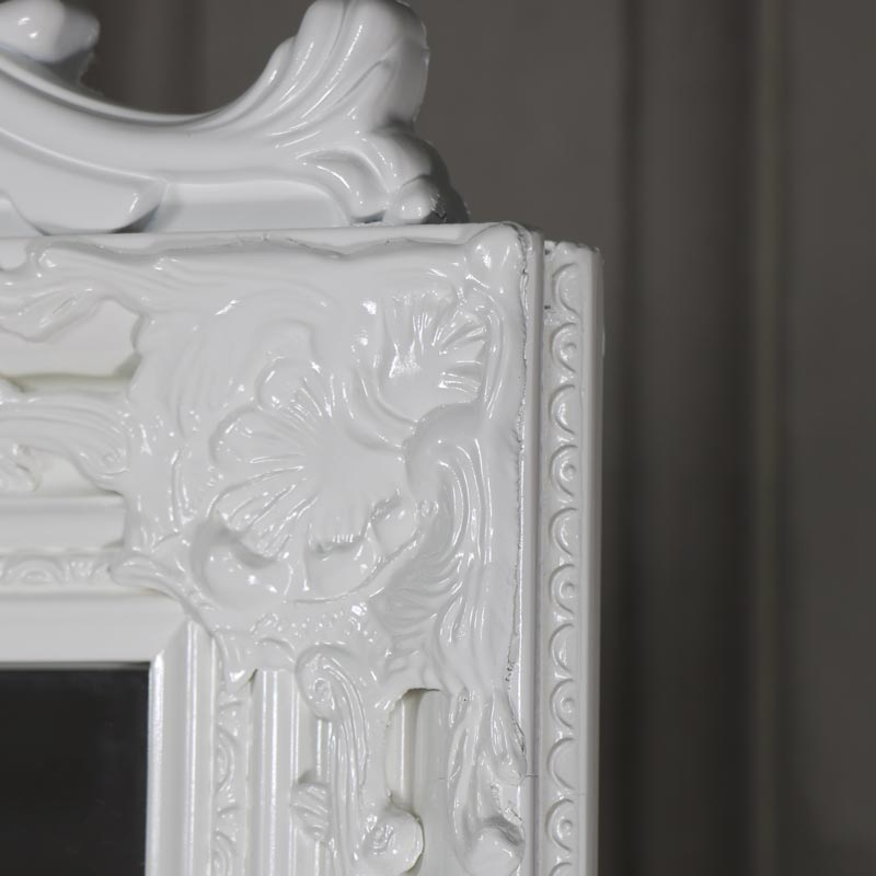 Ornate Gloss White Floor Standing Cheval Mirror