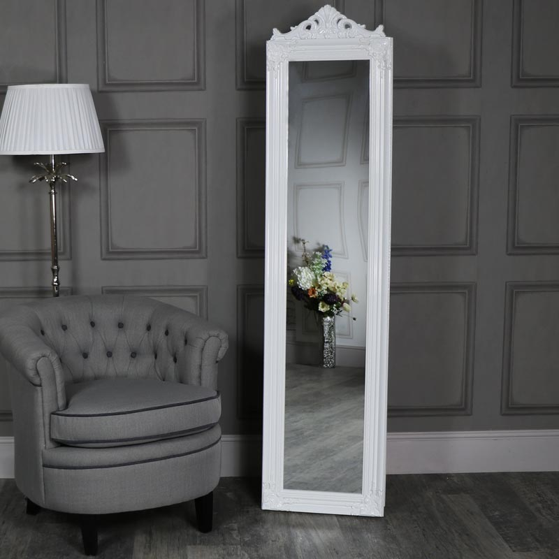 Ornate Gloss White Floor Standing Cheval Mirror Melody