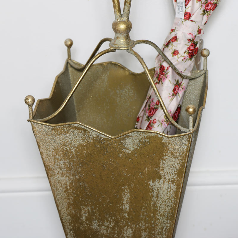 Ornate Gold Metal Umbrella Holder