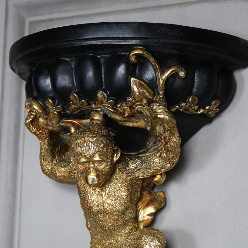 Ornate Golden Monkey Half Moon Wall Sconce Shelf Melody Maison