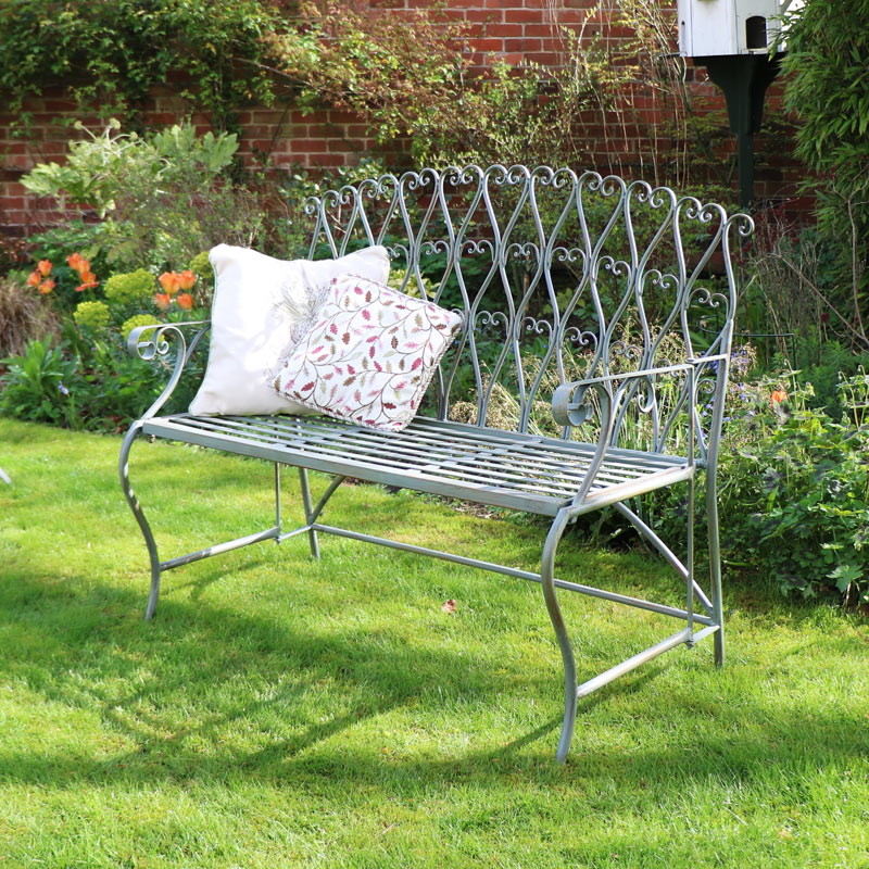 Ornate Green Metal Garden Bench