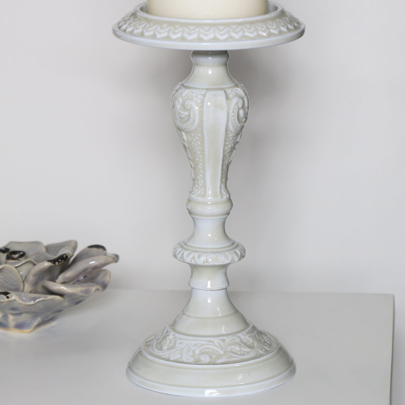 Ornate Grey Embossed Candle Holder