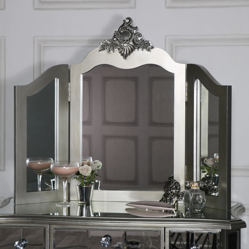 Mirrored 3 Drawer Dressing Table, Stool And Mirror Bedroom