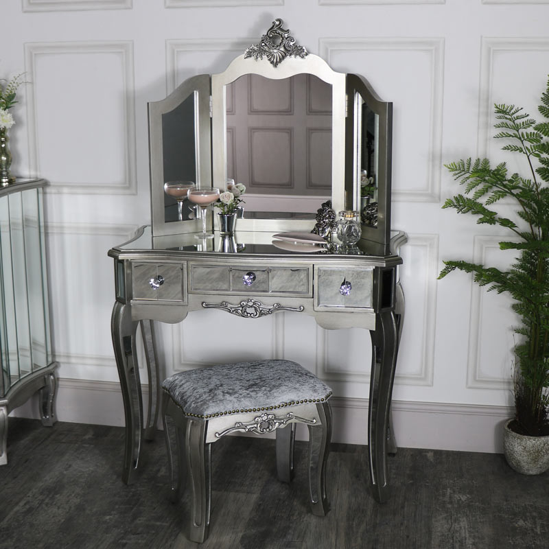 Mirrored Dressing Table Set Tiffany Range Melody Maison 174