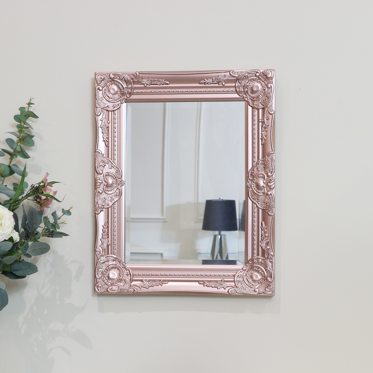 Ornate Rose Gold Pink Wall Mirror With Bevelled Glass Melody Maison