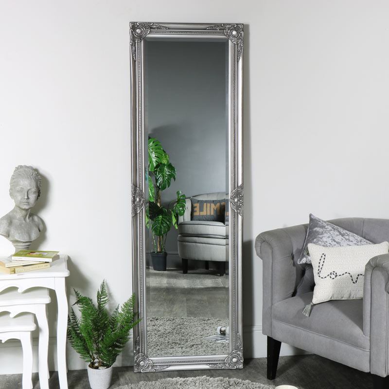 Ornate Silver Full Length Mirror 168cm x 54cm