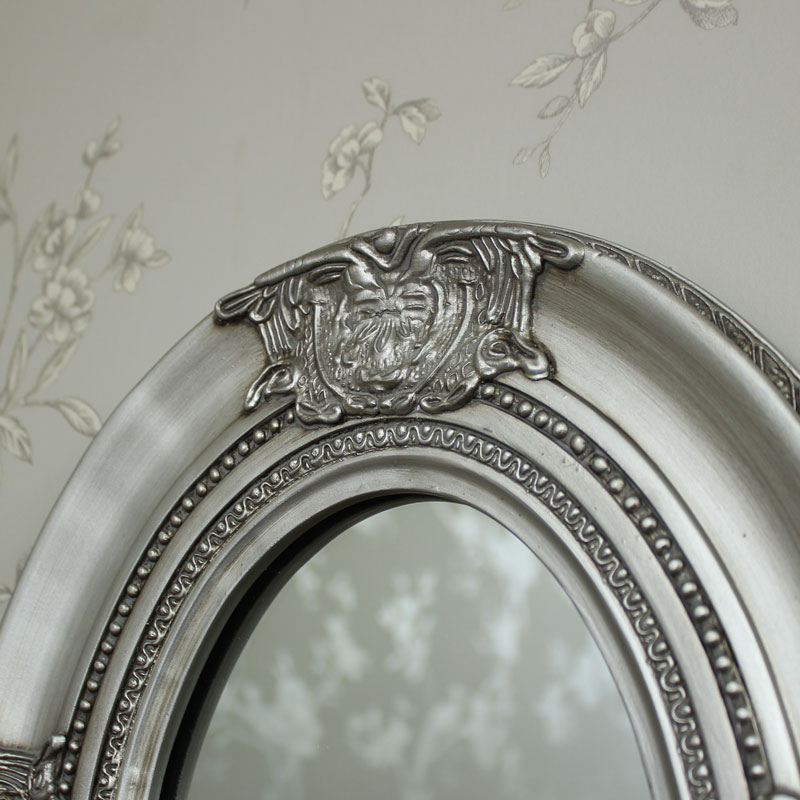 Ornate Silver Oval Wall Mirror - Melody Maison?