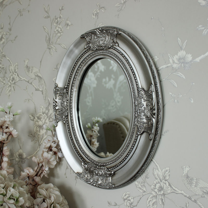 Ornate Silver Oval Wall Mirror