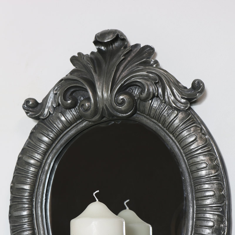 Ornate Silver Wall Mirror with Candle Sconce - Melody Maison®