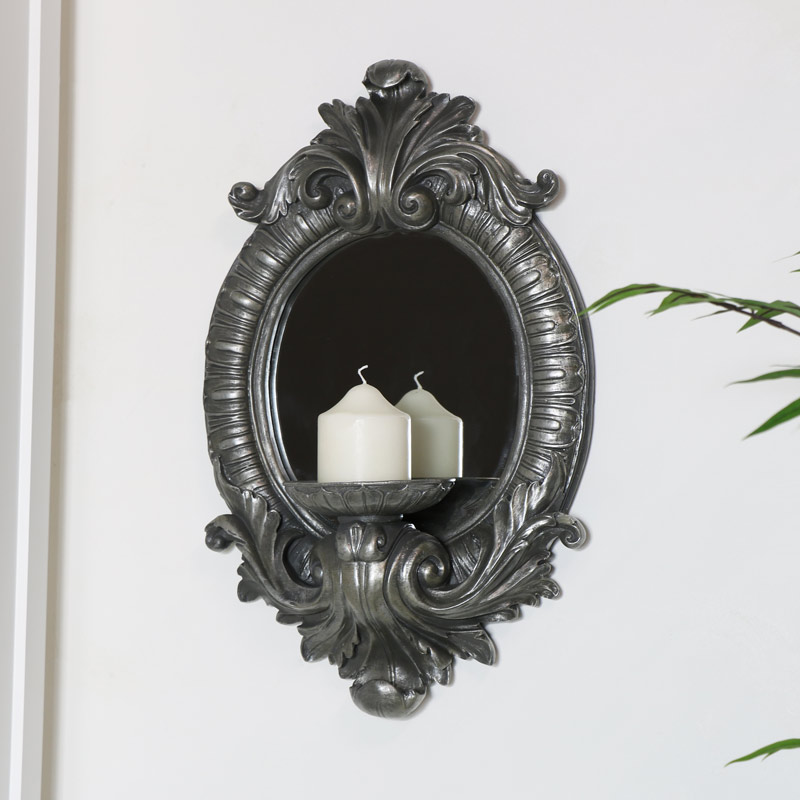 Ornate Silver Wall Mirror with Candle Sconce