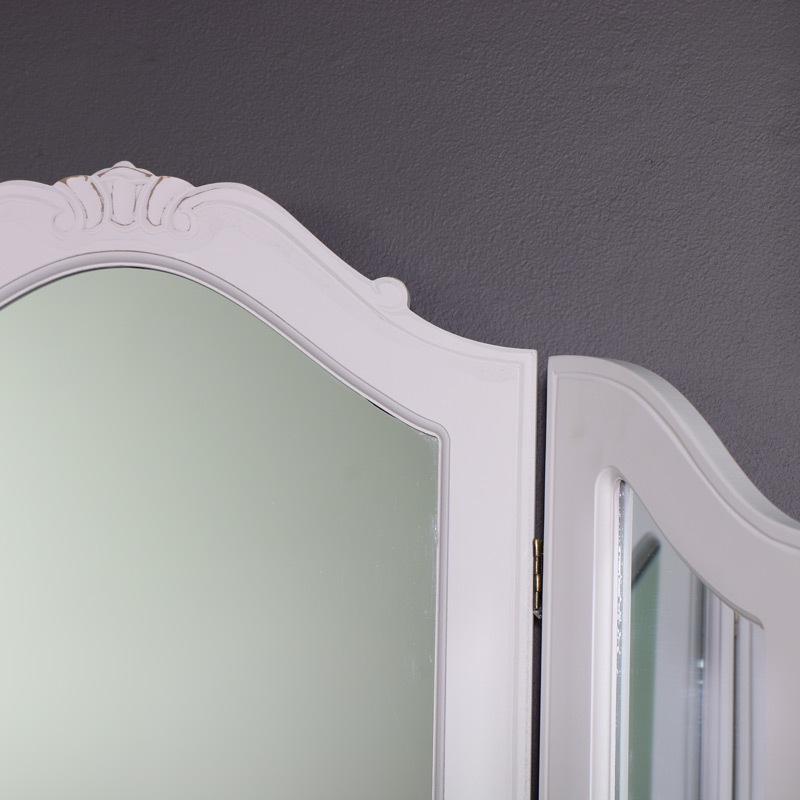 Ornate Triple Dressing Table Vanity Mirror - Elise White
