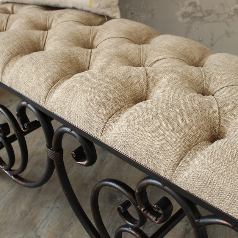Ornate Upholstered Bench