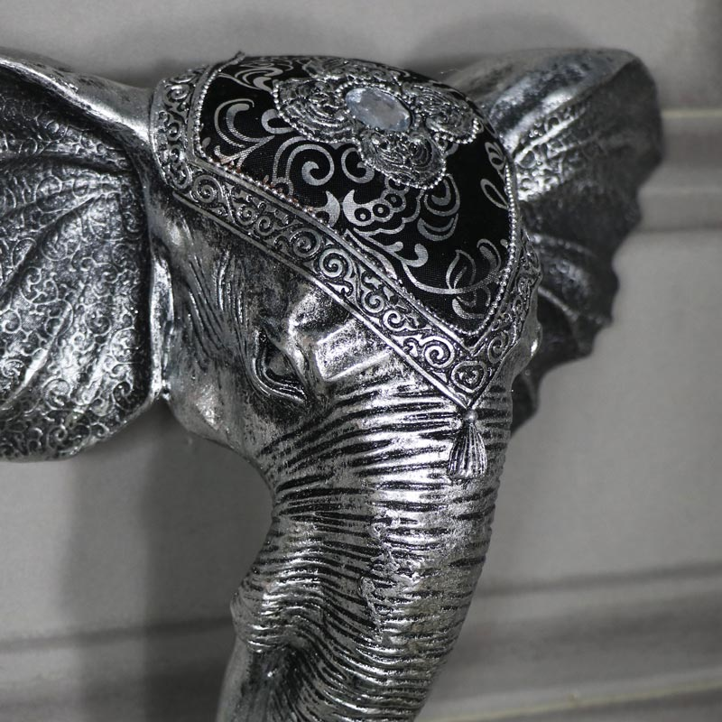 Ornate Wall Mounted Silver Elephant Head Melody Maison