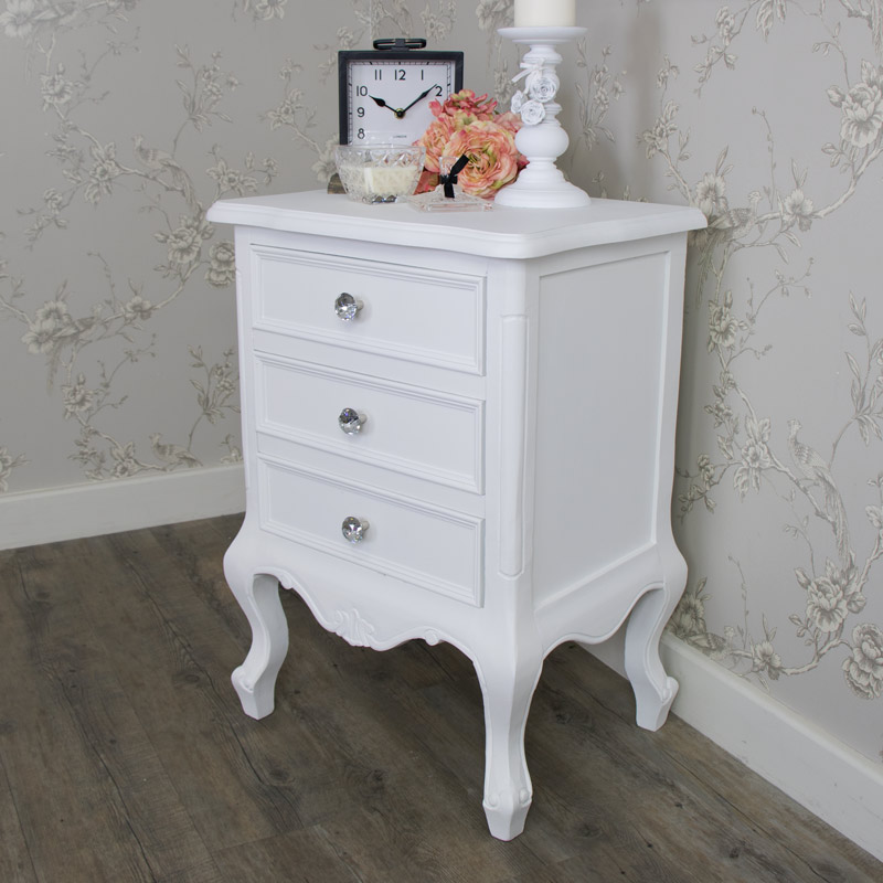 White Bedside Table 3 Drawer French Elise White Range Melody