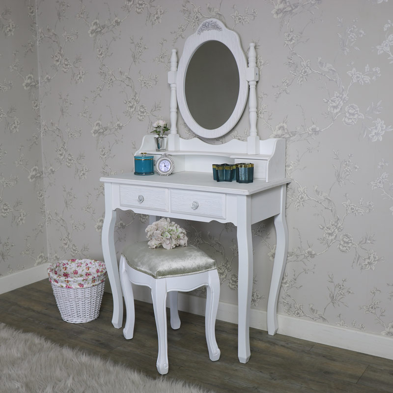 White Dressing Table Set Mirror Stool Shabby French Chic Bedroom Vanity  Furnitur