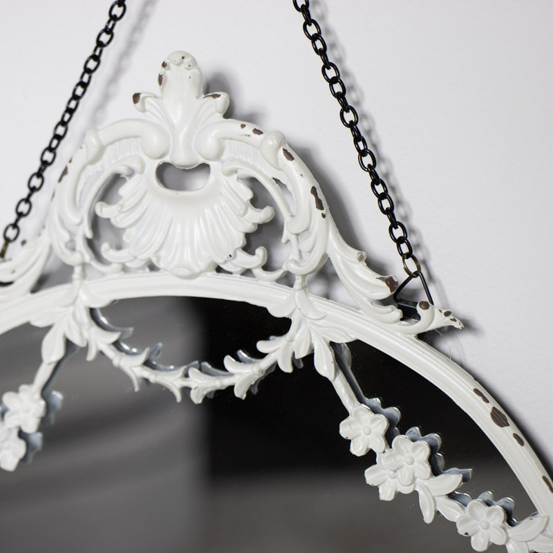 Ornate White Floral Wall Mirror