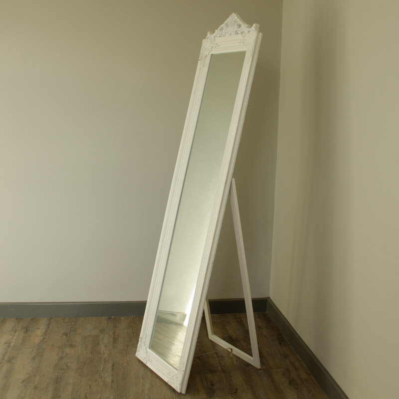 Ornate White Freestanding Mirror Melody Maison 174