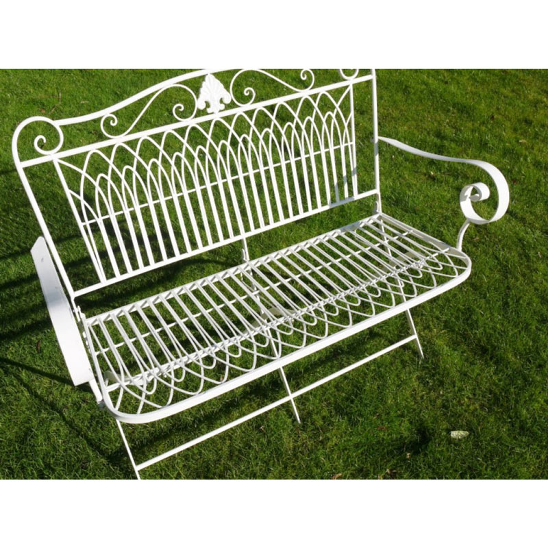 Ornate White Metal Garden Bench Seat