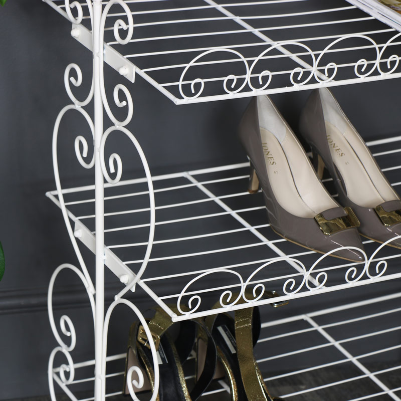 Ornate White Metal Shoe Rack Storage Shelves